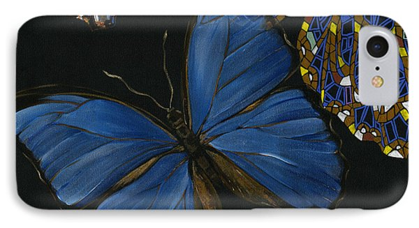 IPhone Case featuring the painting Elena Yakubovich - Butterfly 2x2 Lower Left Corner by Elena Yakubovich