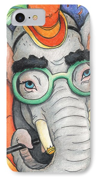 Elephant In Glasses Phone Case by Amy S Turner