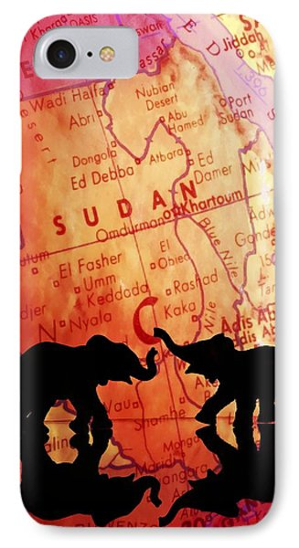 Elephant Silhouettes In Front Of A Map Phone Case by Chris Knorr