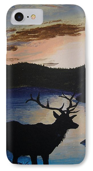 IPhone Case featuring the painting Elk At Sunset by Norm Starks