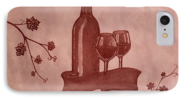 Enjoying Red Wine  Painting With Red Wine Phone Case by Georgeta  Blanaru