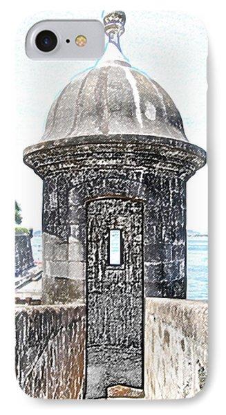 Entrance To Sentry Tower Castillo San Felipe Del Morro Fortress San Juan Puerto Rico Colored Pencil Phone Case by Shawn O'Brien