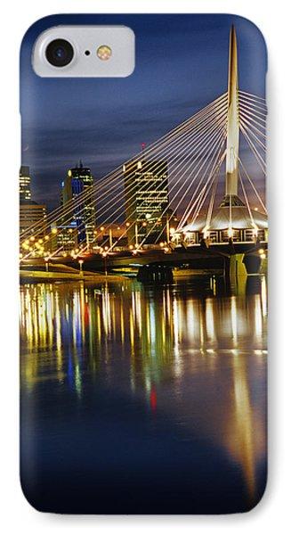 Esplanade Riel Footbridge On Red River Phone Case by Mike Grandmailson