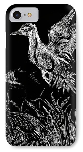 IPhone Case featuring the drawing Etched Duck by Lizi Beard-Ward