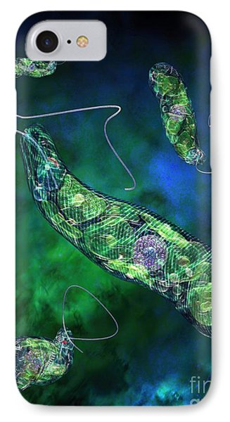 Euglena Blue Phone Case by Russell Kightley