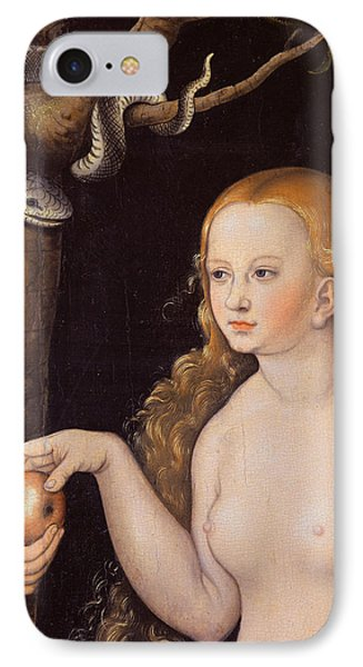 Eve Offering The Apple To Adam In The Garden Of Eden And The Serpent IPhone Case by Cranach