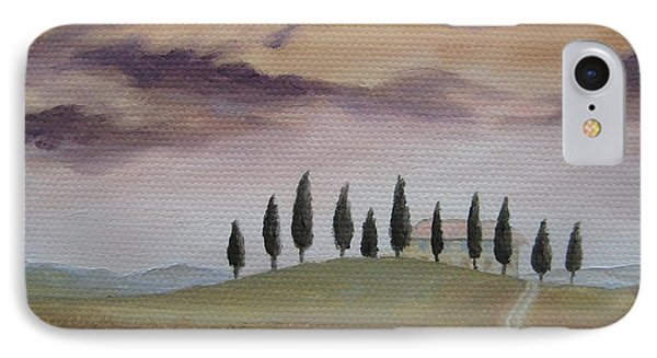 IPhone Case featuring the painting Evening Tuscany by Jindra Noewi