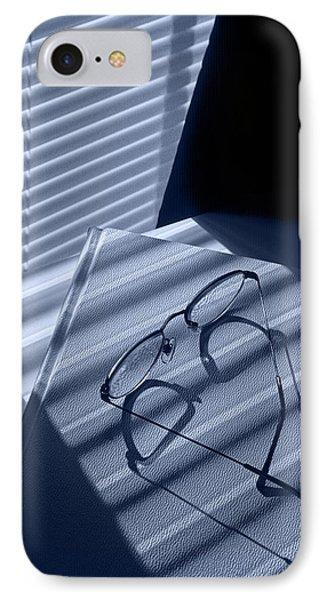 Eye Glasses Book And Venetian Blind In Blue IPhone Case