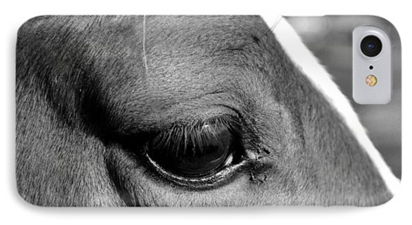 Eye Of The Horse Black And White Phone Case by Sandi OReilly