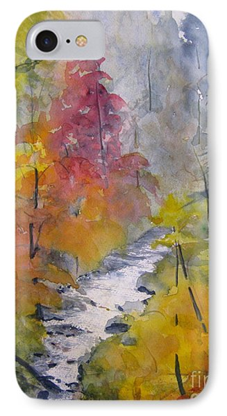 IPhone Case featuring the painting Fall Mountain Stream by Gretchen Allen