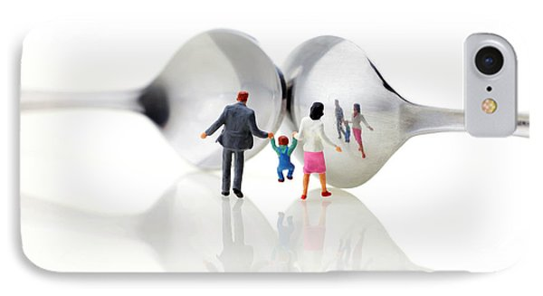 Family In Front Of Spoon Distoring Mirrors II Phone Case by Paul Ge