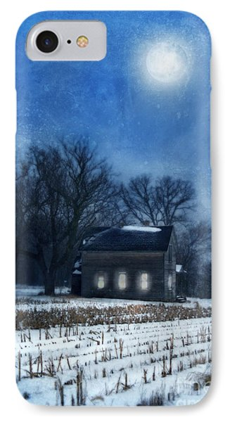 Farmhouse Under Full Moon In Winter Phone Case by Jill Battaglia