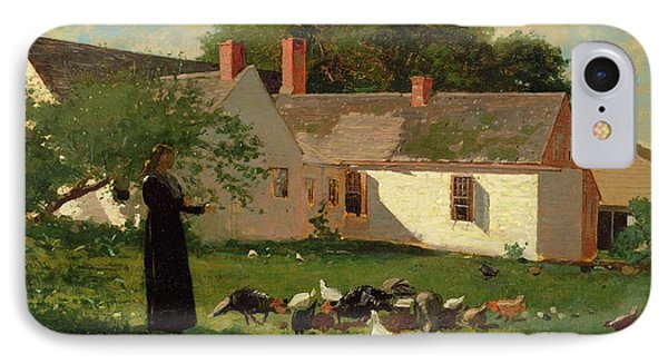 Farmyard Scene Phone Case by Winslow Homer