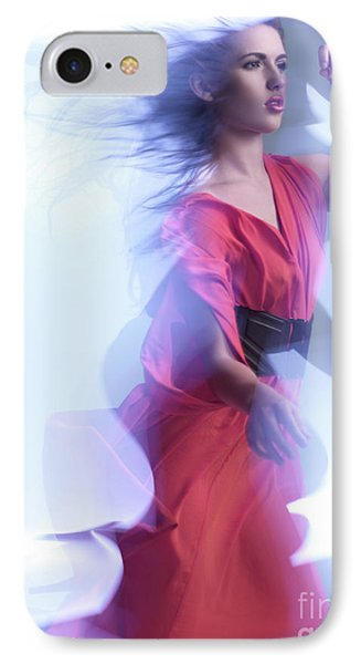 Fashion Photo Of A Woman In Shining Blue Settings Wearing A Red  Phone Case by Oleksiy Maksymenko