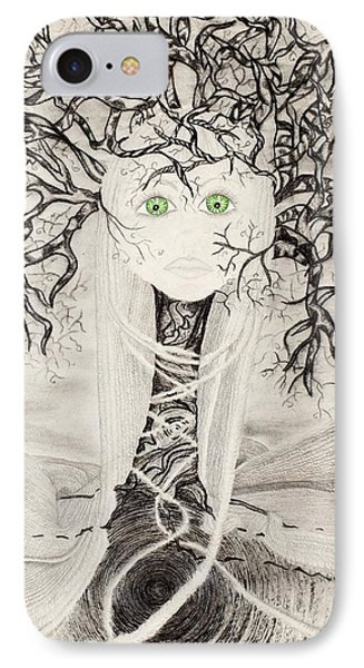IPhone Case featuring the drawing Fear by Yolanda Raker