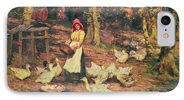 Feeding The Ducks IPhone Case by Joseph Harold Swanwick