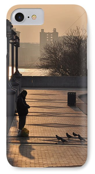 Feeding The Pigeons At Dawn Phone Case by Bill Cannon