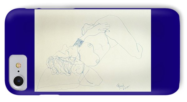 Female Nude In Blue IPhone Case by Rand Swift