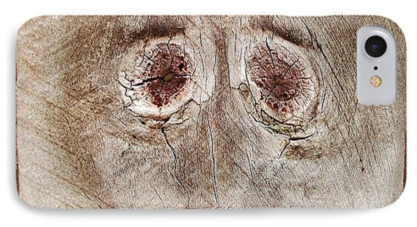#fence #face #wood #knot IPhone Case by Cameron Bentley