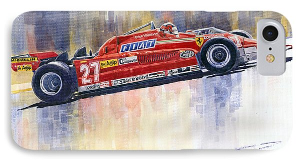 Ferrari 126 Ck Gilles Villeneueve Spanish Gp 1981 IPhone Case by Yuriy  Shevchuk
