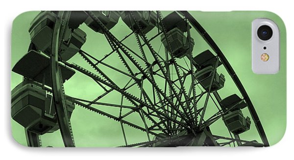 IPhone Case featuring the photograph Ferris Wheel Green Sky by Ramona Johnston