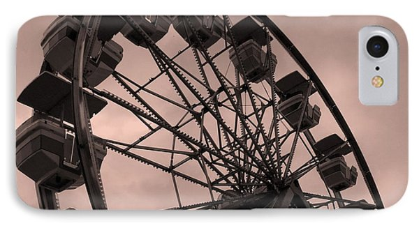 IPhone Case featuring the photograph Ferris Wheel Pink Sky by Ramona Johnston