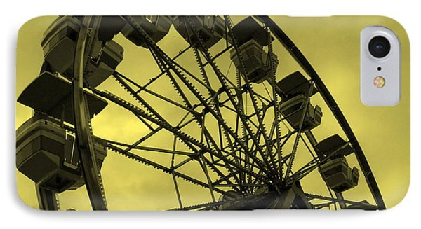 IPhone Case featuring the photograph Ferris Wheel Yellow Sky by Ramona Johnston