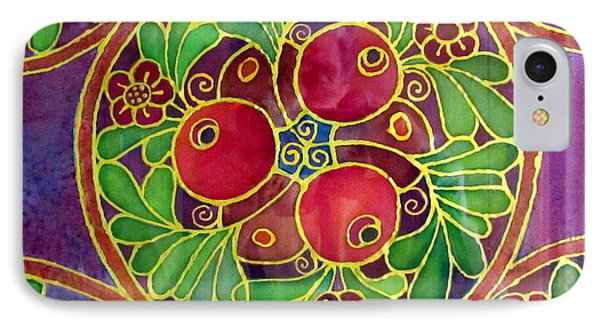Festive Pomegranates In Gold And Vivid Colors Wall Decor In Red Green Purple Branch Leaves Flowers IPhone Case by Rachel Hershkovitz