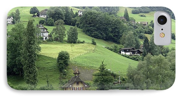 Few Houses On The Slope Of Mountain Next To Lake Lucerne Phone Case by Ashish Agarwal
