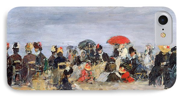Figures On A Beach Phone Case by Eugene Louis Boudin