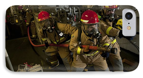 Firemen Combat A Simulated Fire Aboard Phone Case by Stocktrek Images