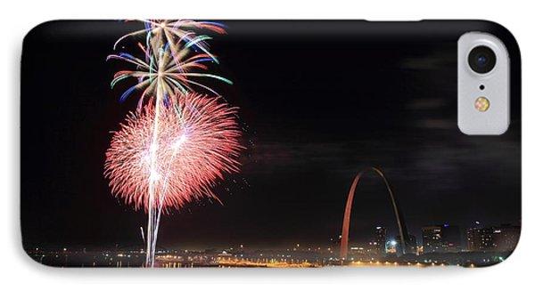 Fireworks From Eads Bridge In Saint Louis Phone Case by Scott Rackers