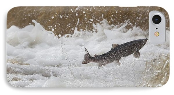 Fish Jumping Upstream In The Water Phone Case by John Short