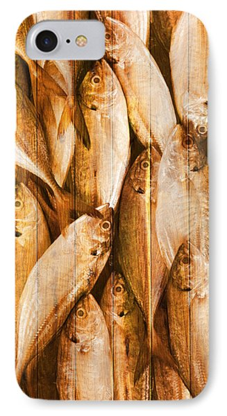 Fish Pattern On Wood Phone Case by Setsiri Silapasuwanchai