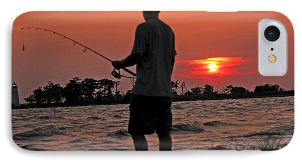 IPhone Case featuring the photograph Fisherman And Lighthouse Sunset by Luana K Perez