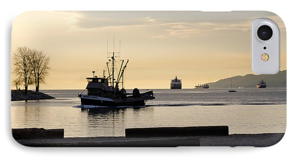 Fisherman Home Returning To Port From The Inside Passage Vancouver Bc Canada Phone Case by Andy Smy