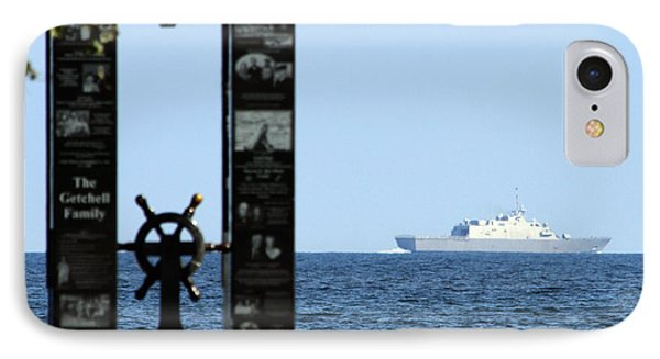IPhone Case featuring the photograph Fishermans' Memorial At Red Arrow Park And Lcs3 Uss Fort Worth by Mark J Seefeldt