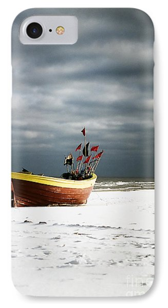 IPhone Case featuring the photograph Fishermen's Boat On Snowy Beach by Agnieszka Kubica