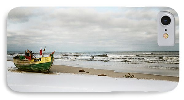 IPhone Case featuring the photograph Fishermen's Boat Waiting On A Beach by Agnieszka Kubica