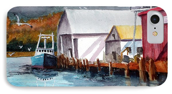 IPhone Case featuring the painting Fishing Boat And Dock Watercolor by Chriss Pagani