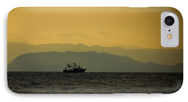 Fishing Boat At Sunset IPhone Case by Anthony Doudt
