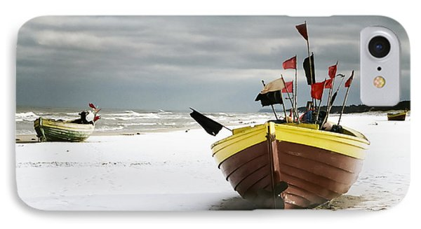 Fishing Boats At Snowy Beach IPhone Case by Agnieszka Kubica