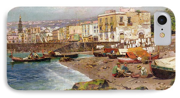 Fishing Boats On The Beach At Marinella Naples IPhone Case by Carlo Brancaccio