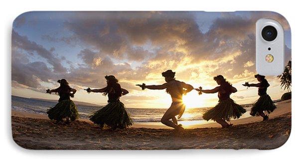 Five Hula Dancers At The Beach At Palauea Phone Case by David Olsen