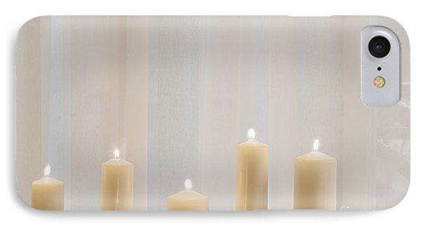 Five White Lit Candles Phone Case by Andersen Ross