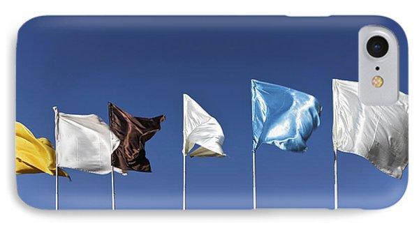 Flags Fluttering Against Blue Sky Phone Case by Kantilal Patel