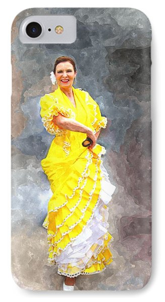 IPhone Case featuring the photograph Flamenco Dancer In Yellow by Davandra Cribbie