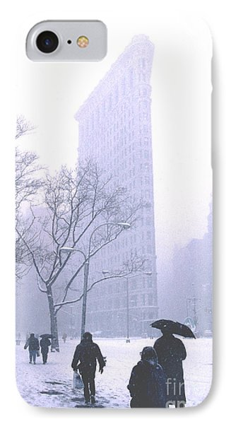 IPhone Case featuring the photograph Flatiron Building In A Major Snowstorm by Tom Wurl