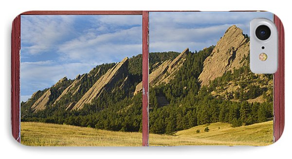 Flatirons Boulder Colorado Red Barn Picture Window Frame Photos  Phone Case by James BO  Insogna