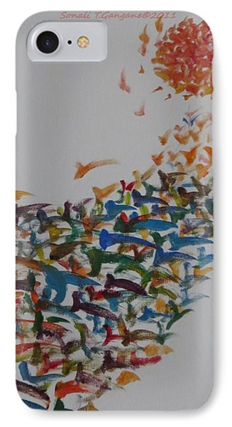 IPhone Case featuring the painting Fleet Of Birds by Sonali Gangane